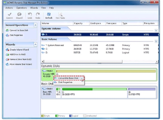 convert dynamic disk về basic disk không mất dữ liệu