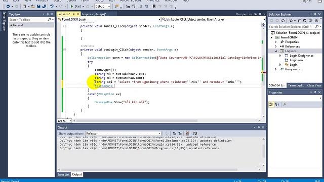 tạo form đăng nhập trong c# kết nối sql